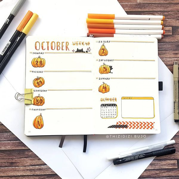 The Shapes of Pumpkins Weekly Spread - Bullet Journal Weekly Spreads Ideas for October
