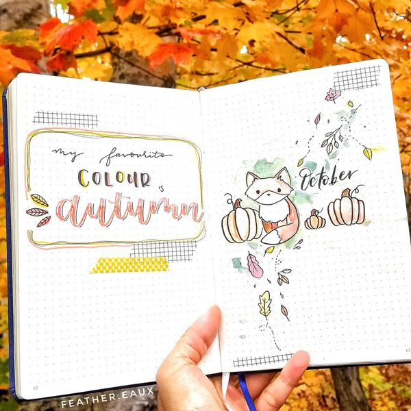 Watercolour Cover Page - Bullet Journal Cover Pages Ideas for October