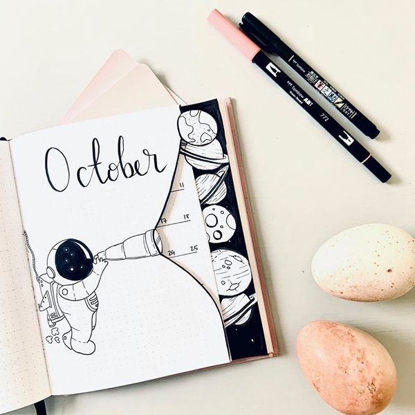 What Is Out There - Bullet Journal Cover Pages Ideas for October