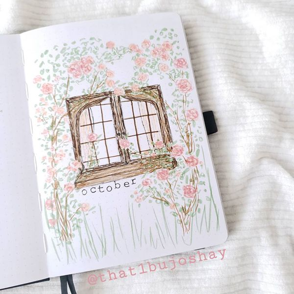 Window With French Roses - Bullet Journal Cover Pages Ideas for October