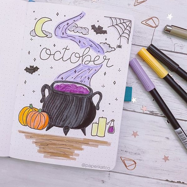 Witch's Cauldron - Bullet Journal Cover Pages Ideas for October