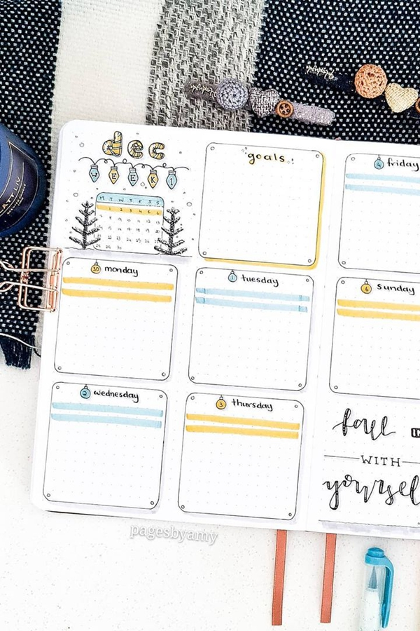 Alternate Complementary Colors - December Bullet Journal Ideas - Weekly Spread for December