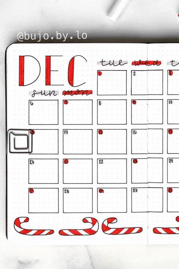 Art Deco Lettering - December Bullet Journal Ideas - Monthly Pages for December