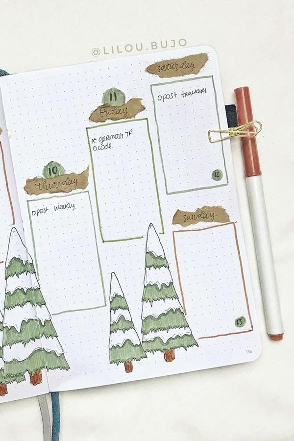 Brown Bag Date Covers - Easy Bullet Journal Hacks - December Bullet Journal Ideas - Weekly Spread for December