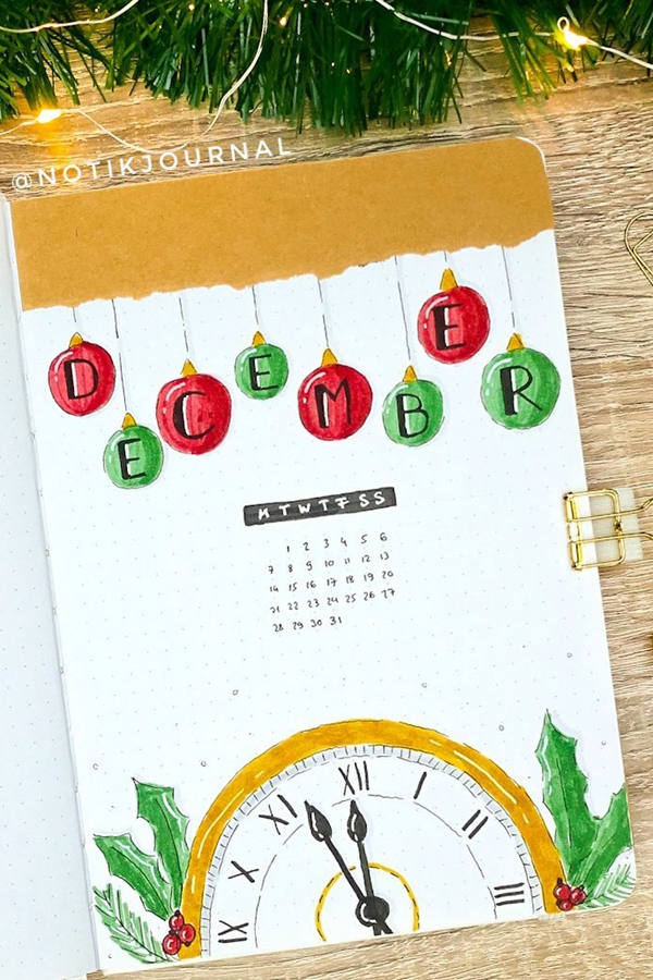 Bujo Clock Time Monthly - December Bullet Journal Ideas - Cover Page for December