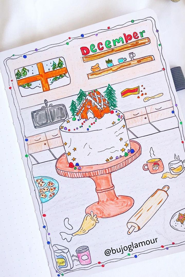 Cake Topper December - December Bullet Journal Ideas - Cover Page for December