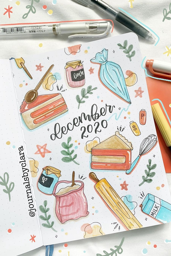 Cake and Baking December - December Bullet Journal Ideas - Cover Page for December
