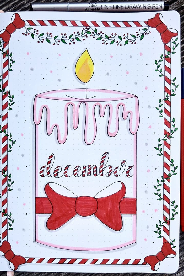 Candle-Themed Cover Page - December Bullet Journal Ideas - Cover Page for December