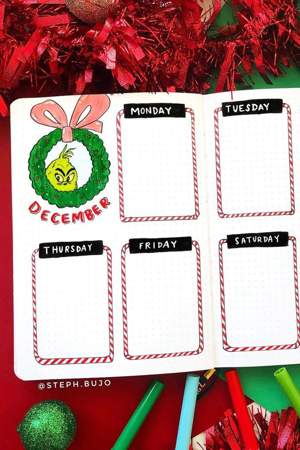 Candy Cane Boxes Bujo Daily Boxes - December Bullet Journal Ideas - Weekly Spread for December