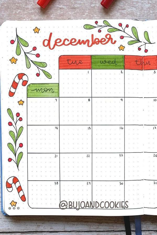Candy Cane Doodle Monthly Spread - December Bullet Journal Ideas - Monthly Pages for December