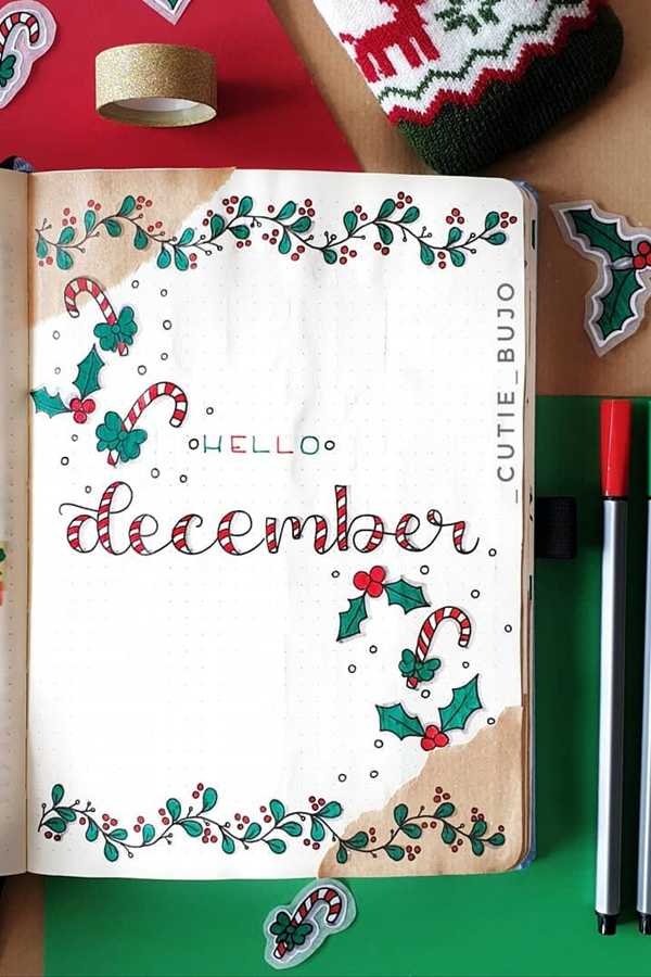 Candy-Striped Monthly Header - December Bullet Journal Ideas - Cover Page for December