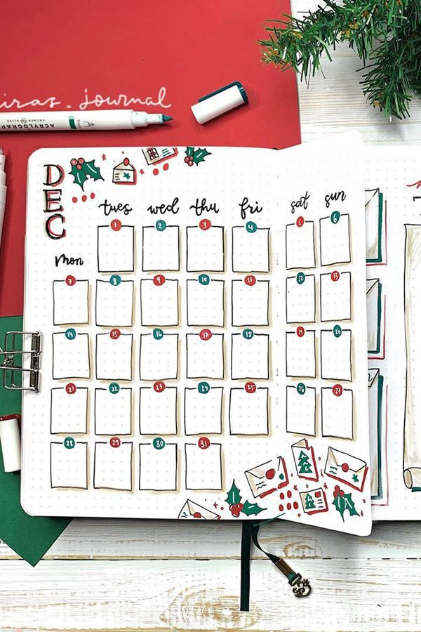 Christmas Countdown Dutch Door - December Bullet Journal Ideas - Monthly Pages for December
