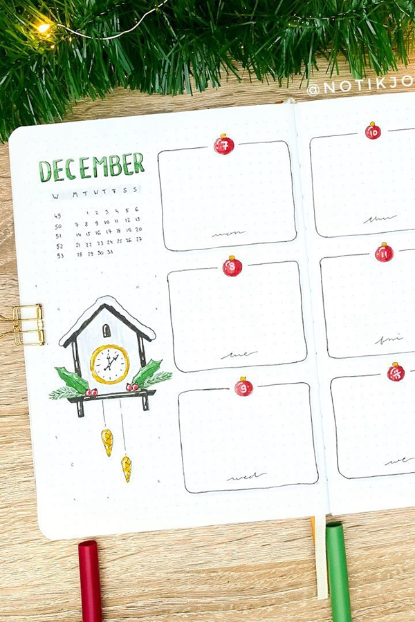 Christmas Ornament Date Header Ideas - December Bullet Journal Ideas - Weekly Spread for December