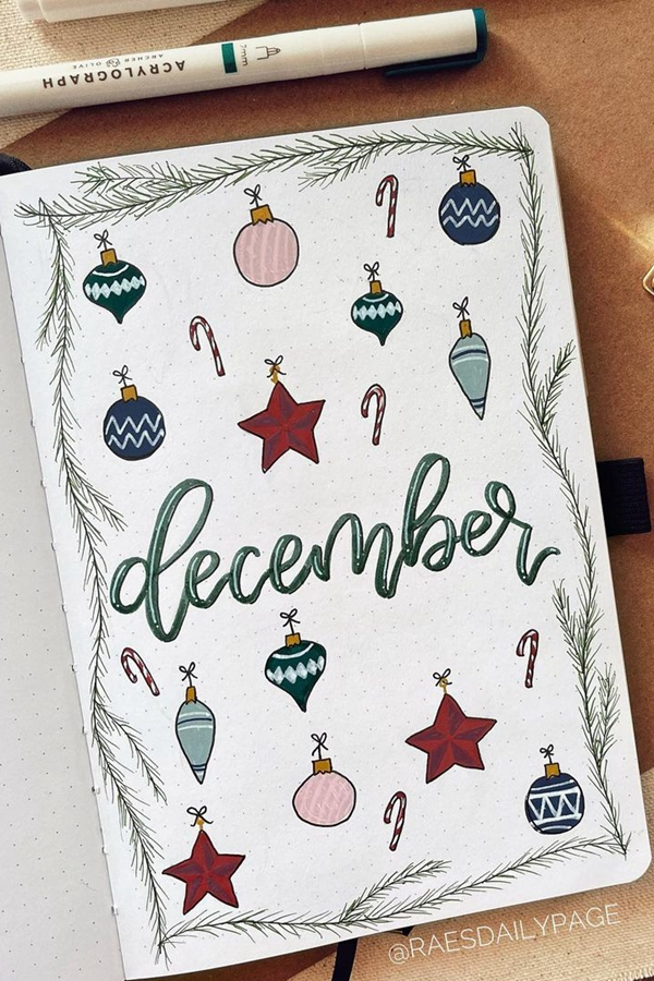 Christmas Ornaments Cover Spread - December Bullet Journal Ideas - Cover Page for December