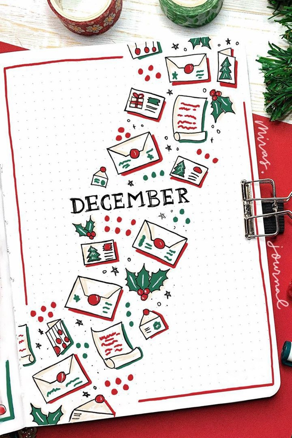 Christmas Tree Holiday Card Bujo Doodle Idea - December Bullet Journal Ideas - Cover Page for December