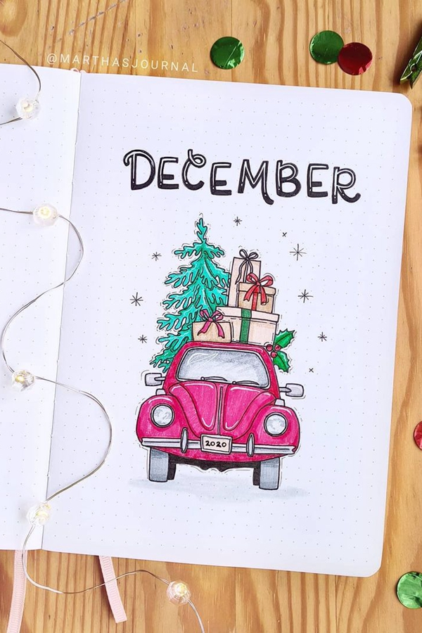 Christmas Tree Red Truck - December Bullet Journal Ideas - Cover Page for December