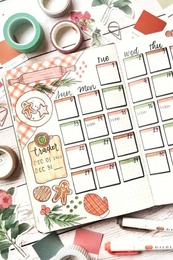 Cooking Themed Monthly Log Ideas - December Bullet Journal Ideas - Monthly Pages for December