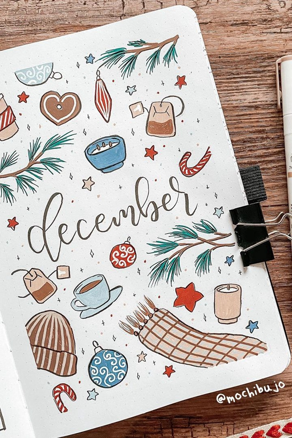 Cool-Tone Doodles December Cover Doodle Ideas - December Bullet Journal Ideas - Cover Page for December