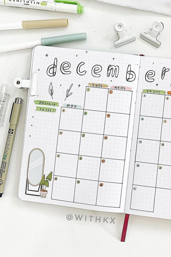 Cozy Home Theme with Stickers - December Bullet Journal Ideas - Monthly Pages for December