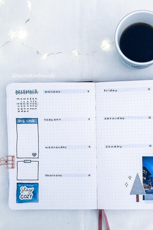 Cozy Winter Bullet Journal Weekly Spread with Photos and Stickers - December Bullet Journal Ideas - Weekly Spread for December