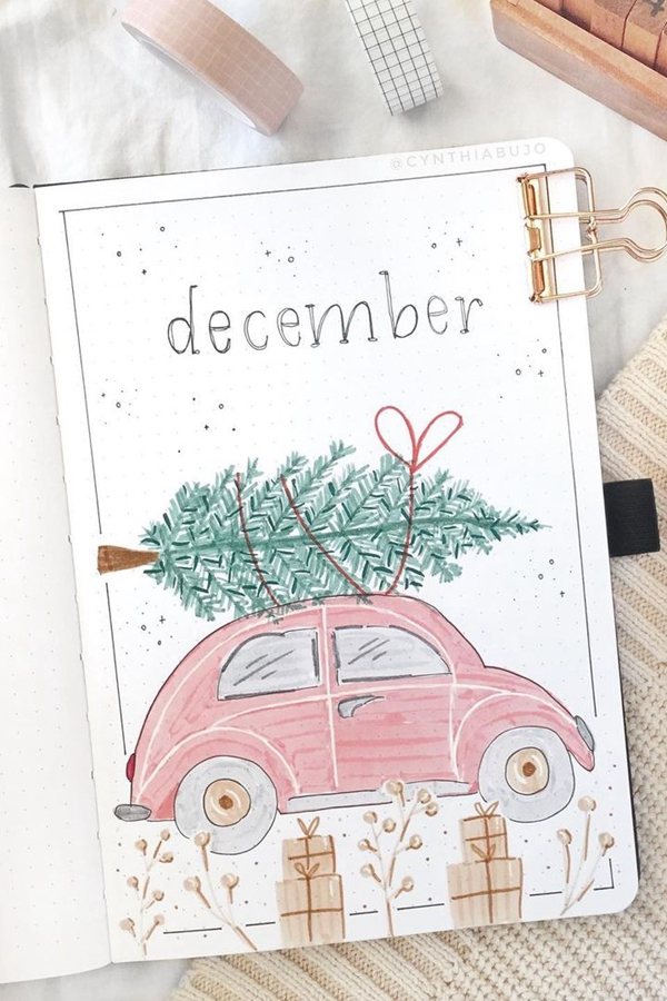 Cute Cars and Christmas Trees - December Bullet Journal Ideas - Cover Page for December