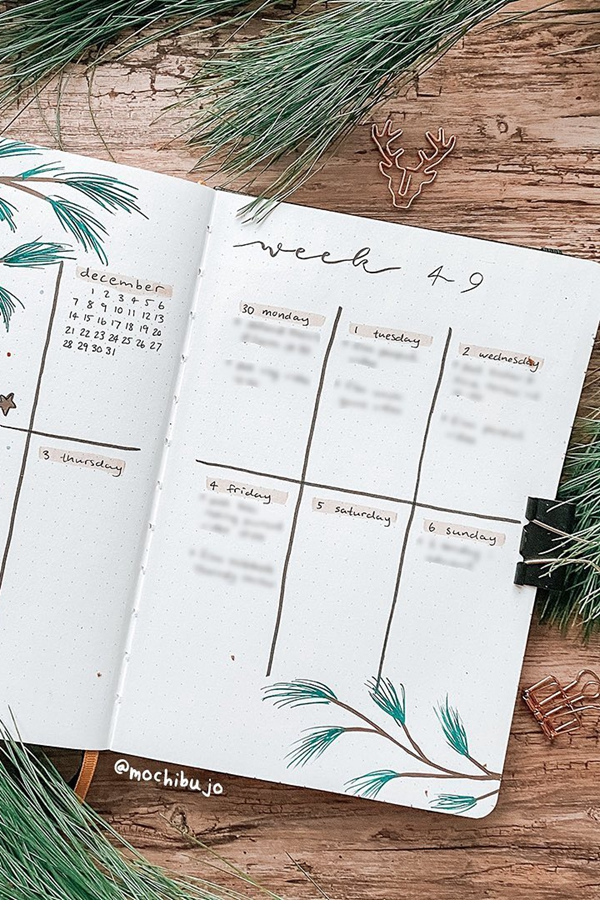 December Doodles Weekly Layout Idea - December Bullet Journal Ideas - Weekly Spread for December