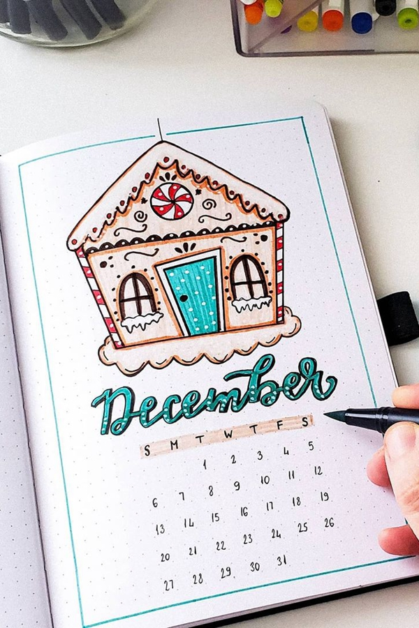 December Gingerbread House - December Bullet Journal Ideas - Cover Page for December