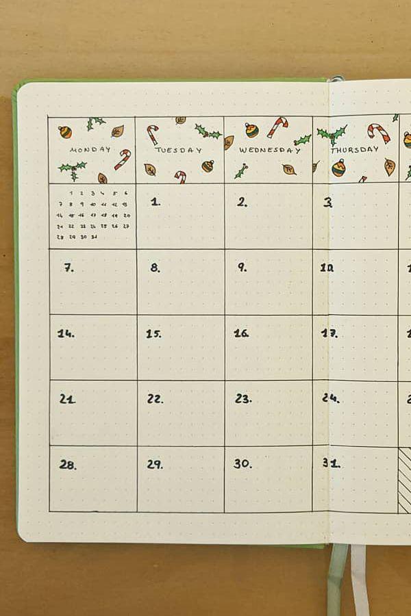 Decorated Calendar Header - December Bullet Journal Ideas - Monthly Pages for December