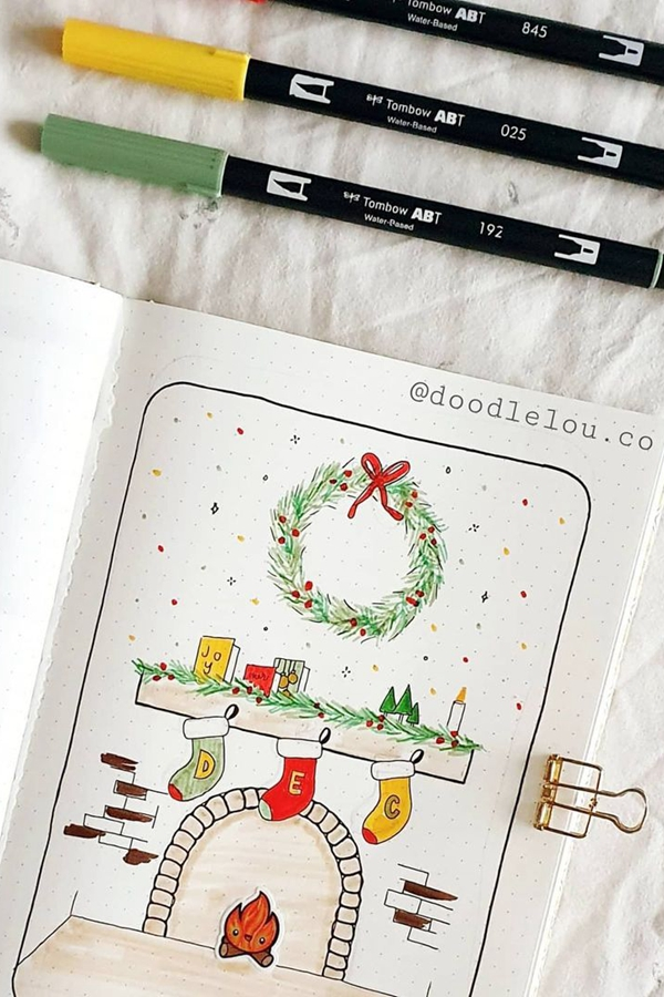 Fireplace Stockings on a Mantle Cover Page Scene - December Bullet Journal Ideas - Cover Page for December