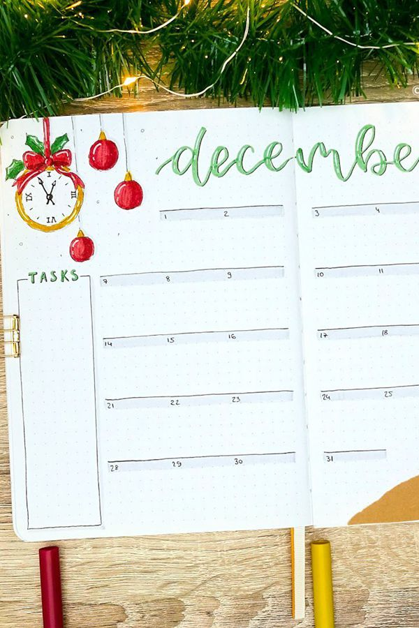 Freehand Whimsical Lines - December Bullet Journal Ideas - Monthly Pages for December