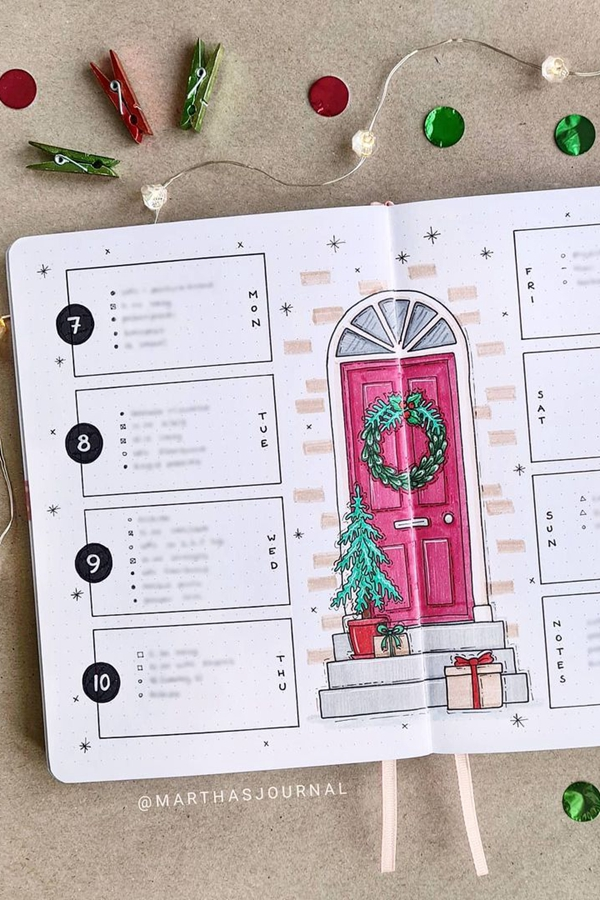 Front Porch December Weekly Spread - December Bullet Journal Ideas - Weekly Spread for December