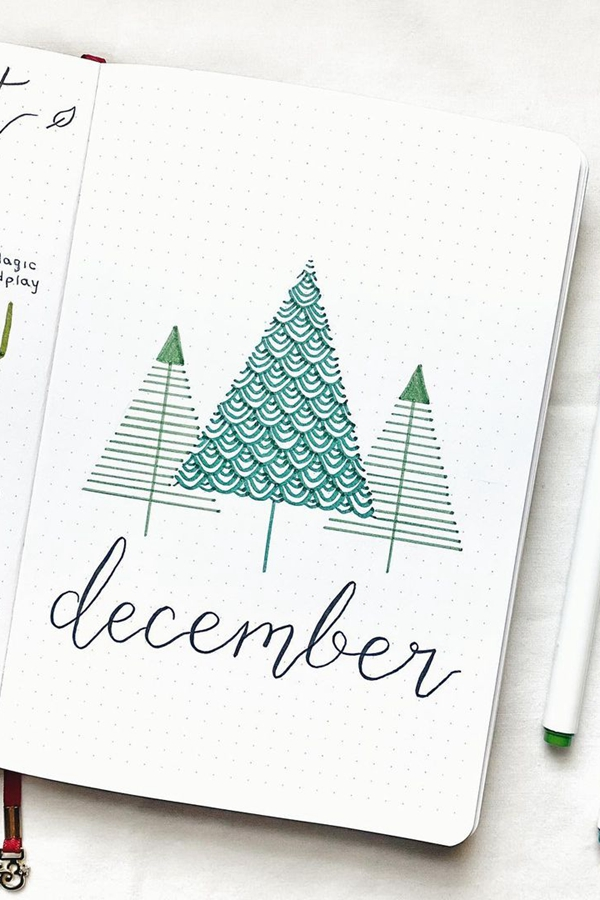 Geometric Christmas Trees - December Bullet Journal Ideas - Cover Page for December