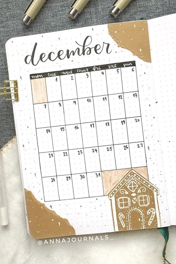 Gingerbread House Bullet Journal Spread - December Bullet Journal Ideas - Monthly Pages for December
