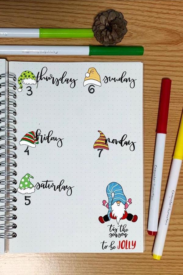 Gnome December Doodle Ideas - December Bullet Journal Ideas - Weekly Spread for December