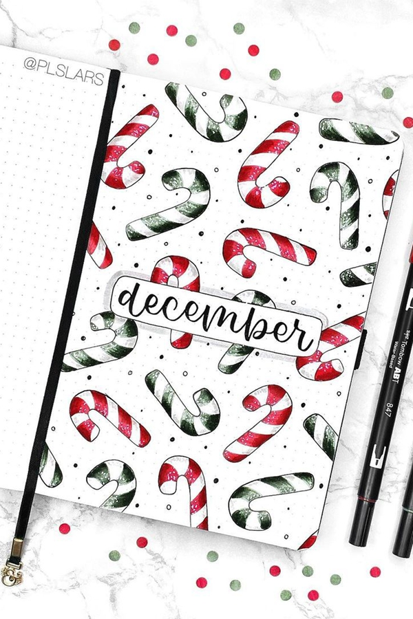 Green Candy Cane December Ideas - December Bullet Journal Ideas - Cover Page for December