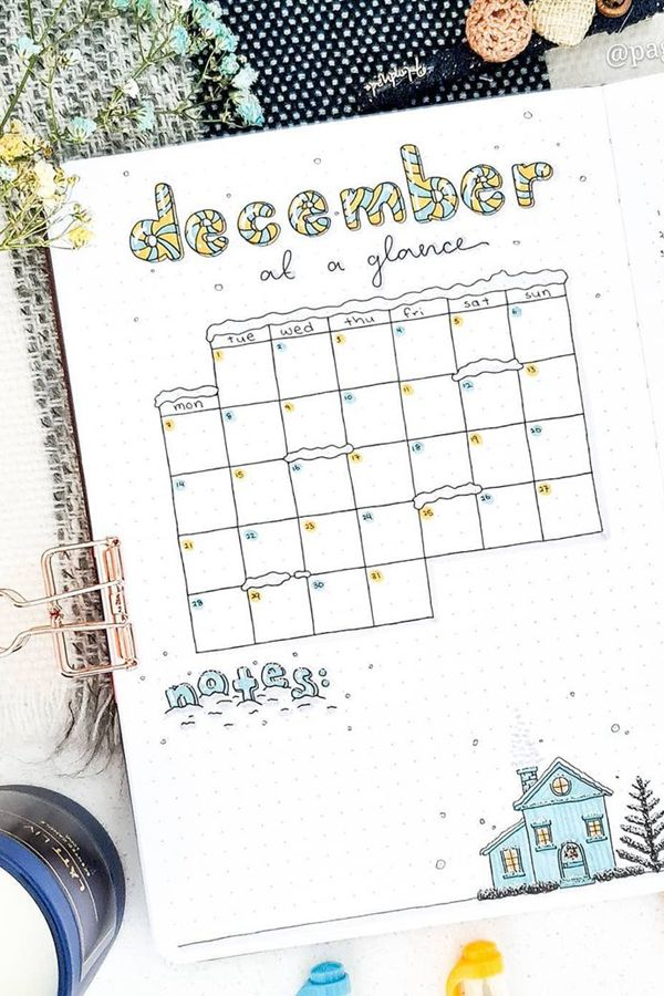 Half Page Monthly with Snowy Calendar - December Bullet Journal Ideas - Monthly Pages for December