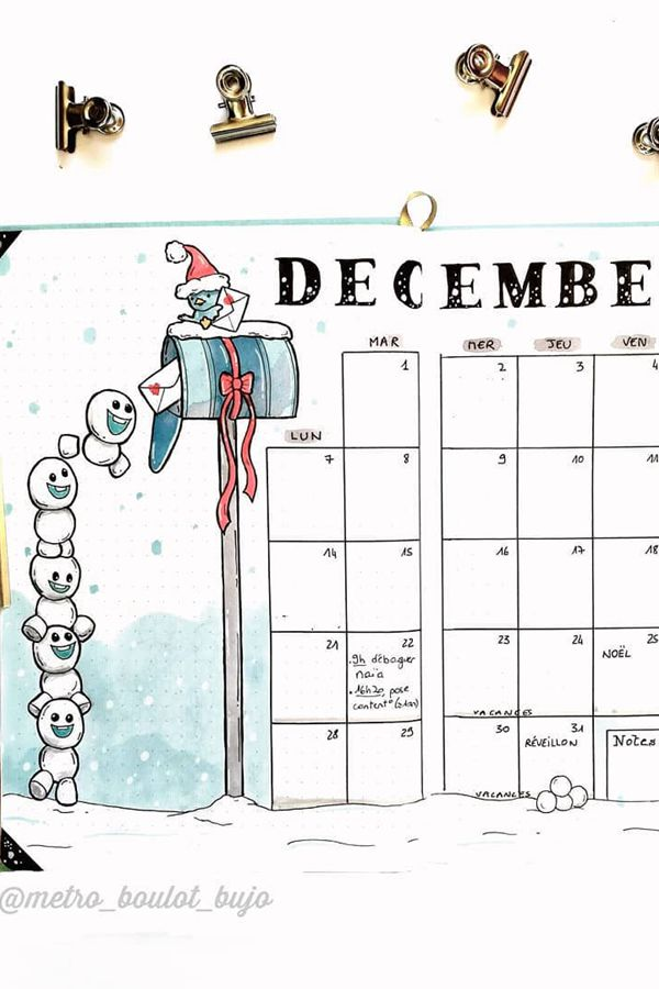 Happy Baby Snowmen - December Bullet Journal Ideas - Monthly Pages for December