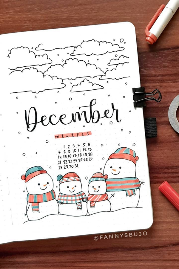 Happy Snowman Family - December Bullet Journal Ideas - Cover Page for December