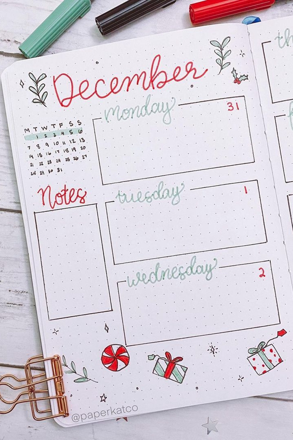 Have a Notes Sidebar and December Calendar at a Glance - December Bullet Journal Ideas - Weekly Spread for December