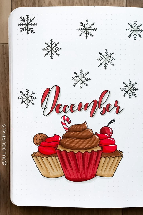 Have a Sweet December with Cupcake - December Bullet Journal Ideas - Cover Page for December