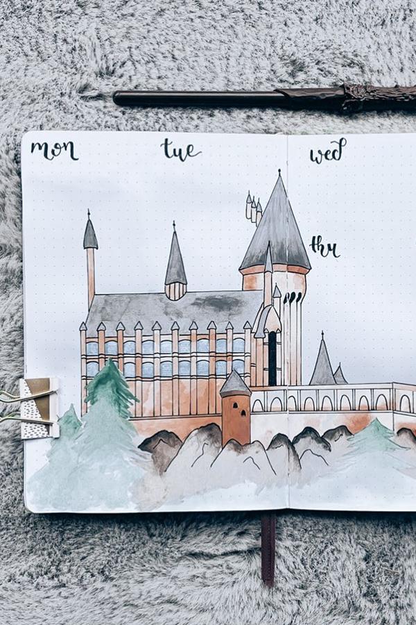 Hogwarts Castle Landscape Bullet Journal Weekly Theme - December Bullet Journal Ideas - Weekly Spread for December
