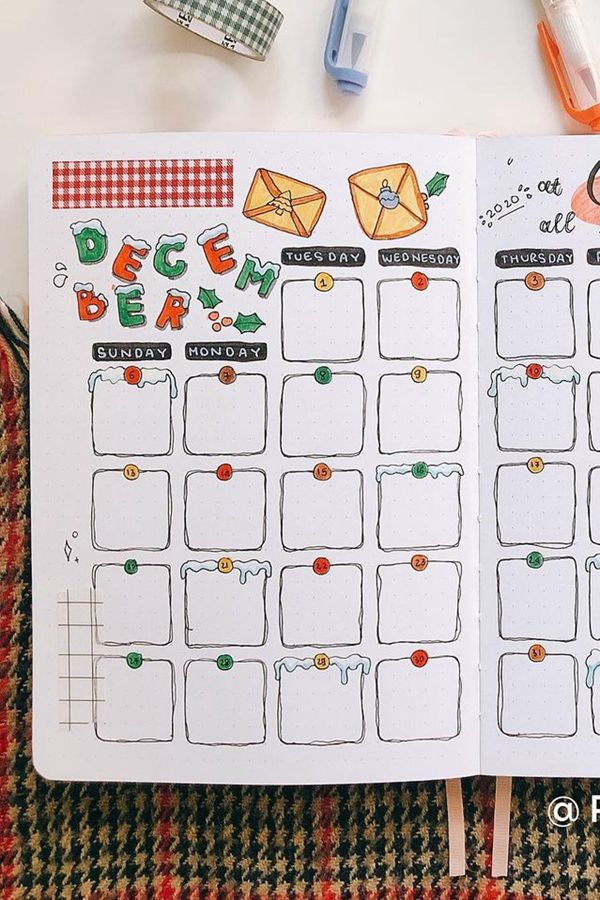 Home for Christmas Mailbox Bujo Idea - December Bullet Journal Ideas - Monthly Pages for December