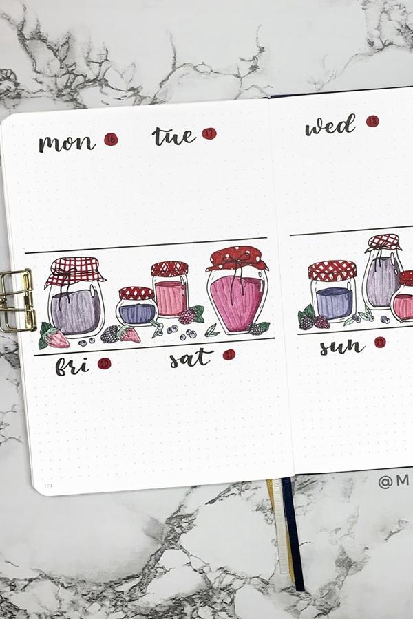 Jam and Berries Weekly Spread Doodles - December Bullet Journal Ideas - Weekly Spread for December