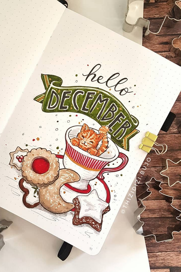 Kitty Cat Tea Cup - December Bullet Journal Ideas - Cover Page for December