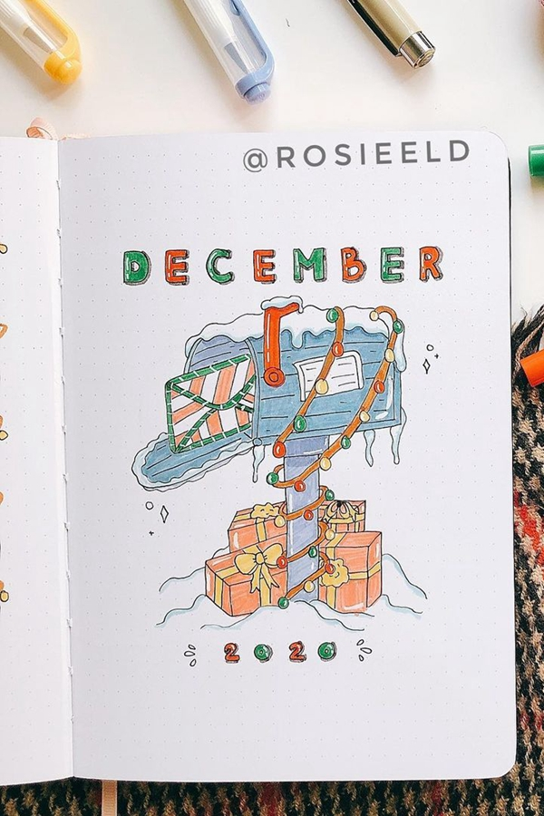 Mail Call! Mailbox - December Bullet Journal Ideas - Cover Page for December
