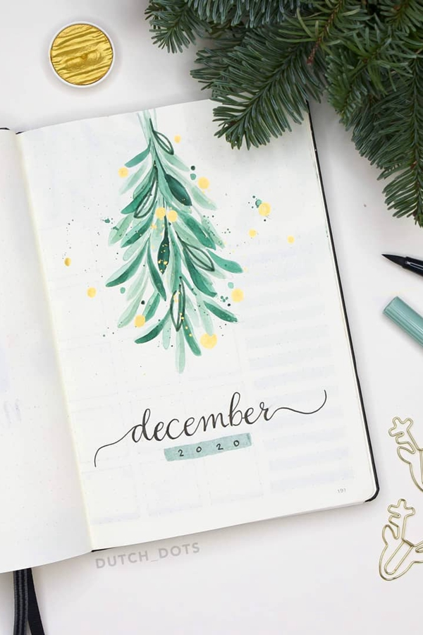 Mistletoe Watercolor December Whimsicle - December Bullet Journal Ideas - Cover Page for December