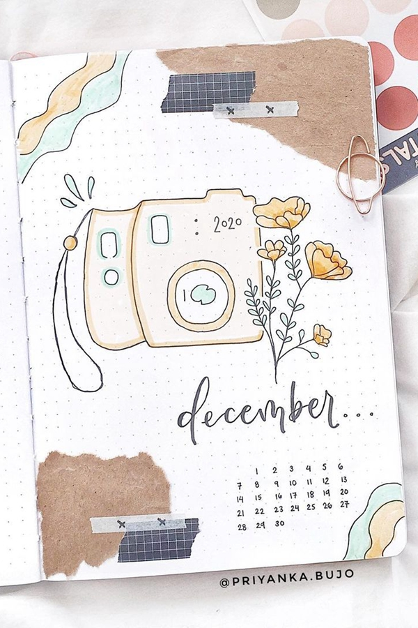 Mixed Media Polaroid and Poppies - December Bullet Journal Ideas - Cover Page for December