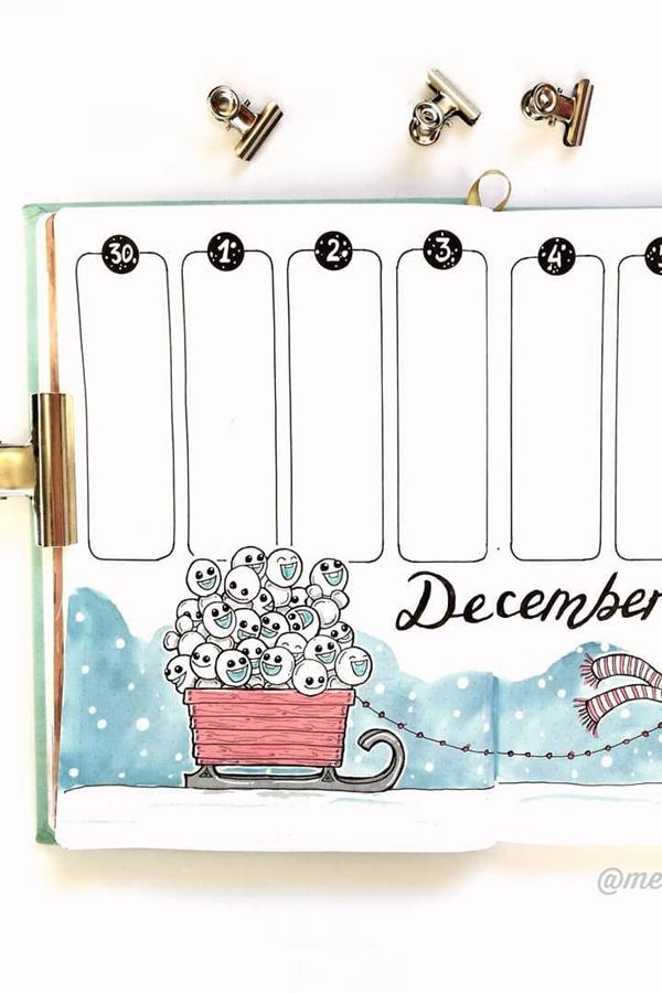 Olaf Snowman Frozen Bujo Spread - December Bullet Journal Ideas - Weekly Spread for December