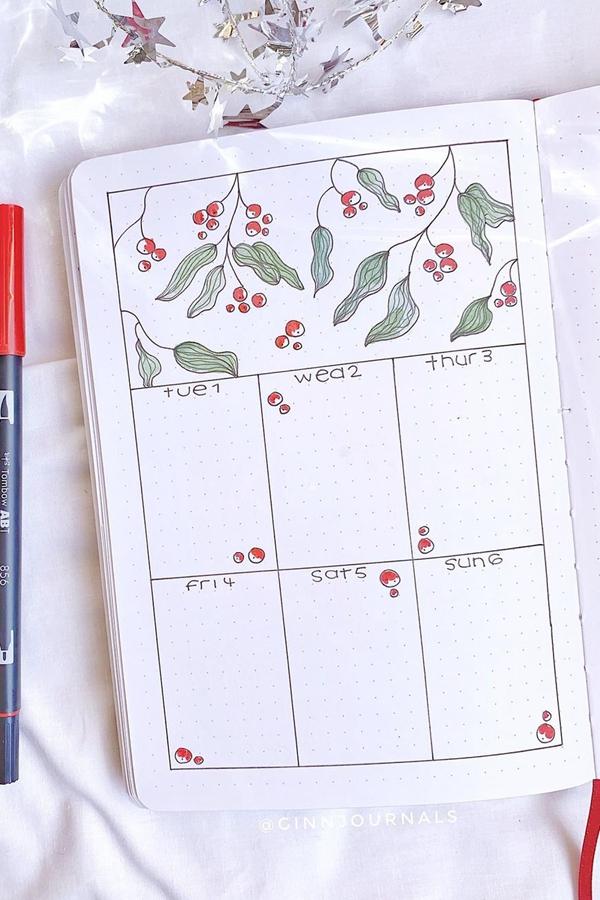 One Page Weekly Bujo Spread - December Bullet Journal Ideas - Weekly Spread for December
