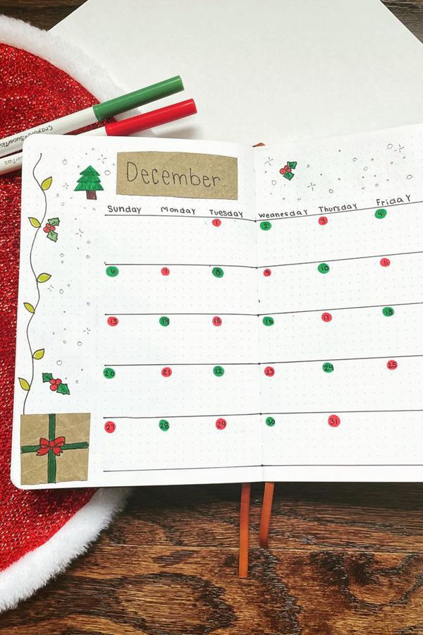 Paper Bag Accents in Bullet Journal Crafts - December Bullet Journal Ideas - Monthly Pages for December
